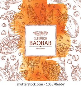 Watercolor background with baobab: baobab fruit, seeds, tree and leaves. Super food. Vector hand drawn illustration