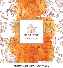 Watercolor background with a bottle of maple syrup and maple leaves. Vector hand drawn illustration