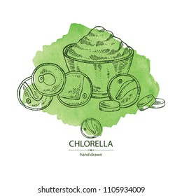Watercolor background with chlorella: chlorella seaweed, powder and tablet. Unicellular green algae. Edible seaweed. Vector hand drawn illustration.