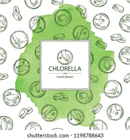 Watercolor background with chlorella: chlorella seaweed, powder and tablet. Unicellular green algae. Edible seaweed. Vector hand drawn illustration.