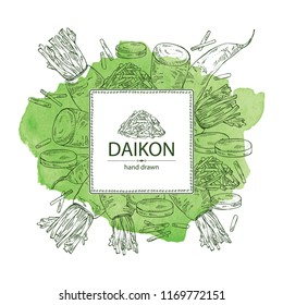 Watercolor background with daikon: root and a piece of daikon. Chinese radish. Vector hand drawn illustration.
