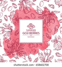 Watercolor background with goji: plant and goji berries. Superfood. Vector hand drawn illustration.