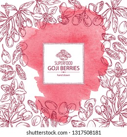Watercolor background with goji: plant, flower and goji berries. Super food. Vector hand drawn illustration.