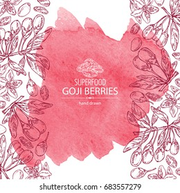 Watercolor background with goji: plant, flower and goji berries. Superfood. Vector hand drawn illustration.