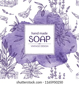 Watercolor background with handmade soap, lavender, aloe and tea tree. Organic cosmetic natural soap. Vector hand drawn illustration.