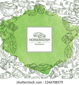 Watercolor background with horseradish: horseradish root, leaves and a piece of horseradish root. Vector hand drawn illustration.