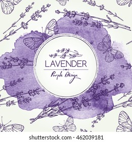 Watercolor background with lavender and butterfly. hand drawn