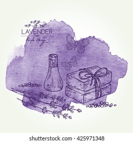Watercolor background with with lavender, essential oil, soap and butterfly. hand drawn