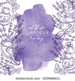 Watercolor background with lavender, soap, butterfly and lavender essential oil. Vector hand drawn illustration