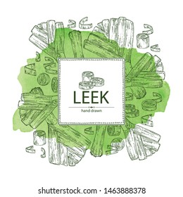 Watercolor background with leek: full leek and slices. Vector hand drawn illustration.