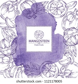 Watercolor background with mangosteen mangosteen fruit and leaves. Vector hand drawn illustration.