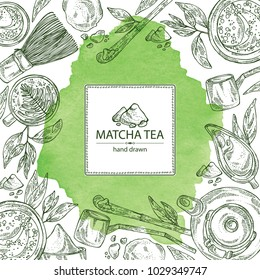 Watercolor background with matcha green tea : matcha, bamboo matcha whisk, a cup of matcha and teapot. Ingredient for chinese and japanese tea ceremony. Vector hand drawn illustration.