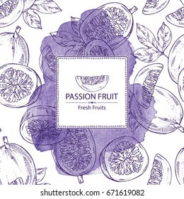 Watercolor background with passion fruit: fruit, passion slice and leaves. Vector hand drawn illustration.