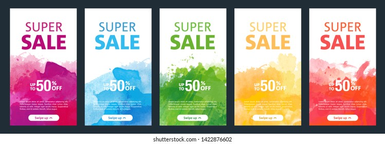 Watercolor background sale mobile banners design template set for social media marketing