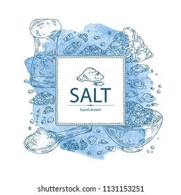 Watercolor background with salt: spoon with salt, pink Himalaya salt and salt shaker. Vector hand drawn illustration.