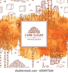 Watercolor  background with sugarcane: cane sugar and sugarcane. Vector hand drawn illustration