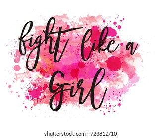 """Watercolor background vector, motivation poster """"fight like a girl"""", breast cancer awareness  theme"""