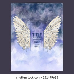 Watercolor background with wings. Poster templates for festive events, flyers and placards.
