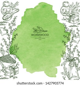 Watercolor background with wormwood: wormwood branch, wormwood flowers, soap and bath salt . Cosmetic and medical plant. Vector hand drawn illustration