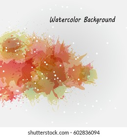 Watercolor backgrounds for design. Beautiful watercolor multicolored spray. Compositions of watercolor stains to decorate banners, brochures and booklets. Vector illustration