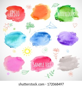Watercolor backgrounds. Vector illustration.