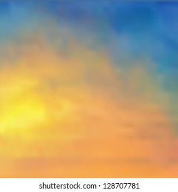 Watercolor background/sunset sky - vector illustration.