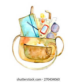Watercolor bag with accessories, vector