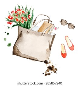 Watercolor bag with sketchbook, flower and glasses