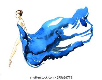 Watercolor ballerina in blue dress, vector