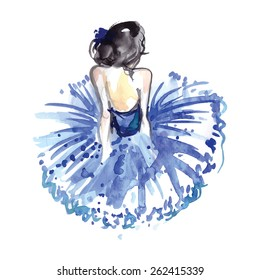 Watercolor ballerina in blue tutu from the back,vector