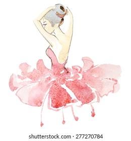Watercolor ballerina in colored fashion dress