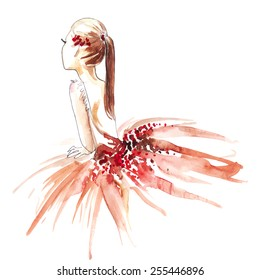 Watercolor ballerina in red, vector