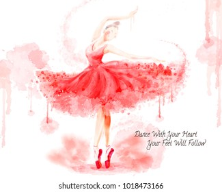 Watercolor ballet dancer, attractive dancer in watercolor paint stroke isolated on white background