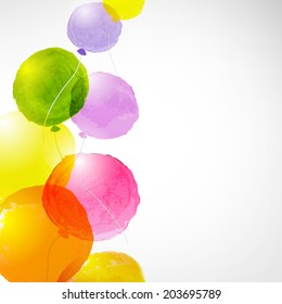 Watercolor Balloons, With Gradient Mesh, Vector Illustration