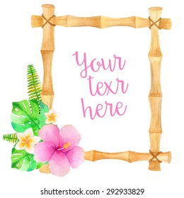 Watercolor bamboo frame with tropical flower