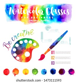 Watercolor banner in rainbow colors. Creative hsnd drawn rainbow header, brush and palette