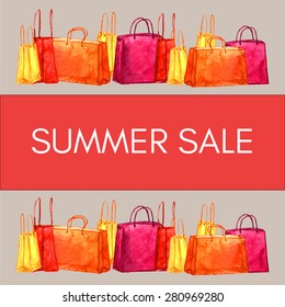 Watercolor banner with SUMMER SALE sign decorated with colorful shopping bags. Vector  illustration