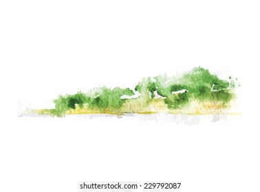 Watercolor beach with forest, vector illustration