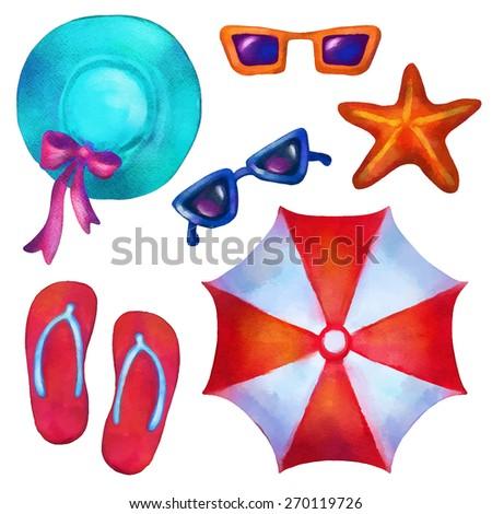 dac3d583b Watercolor Beach Sea Icons Logo Cartoon Stock Vector (Royalty Free ...