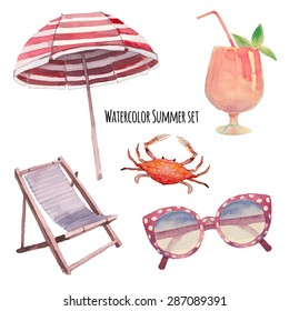 Watercolor beach vacation set. Hand drawn summer objects: crab, coctail, beach umbrella, sunglasses,  beach chair. Vector illustrations isolated on white background