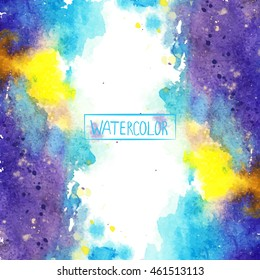 watercolor, beautiful abstract background,colored spots vector,handmade, blue, yellow, purple, card for you
