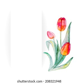 Watercolor beautiful handmade banners and frames set with tulip flowers. Vector