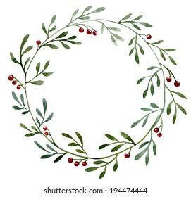 watercolor, berries, wreath