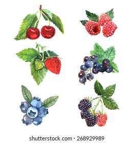 Watercolor berry set with cherry raspberry strawberry isolated vector illustration
