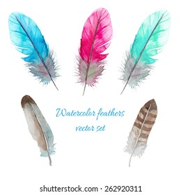 Watercolor birds feathers set. Hand painted artistic elements. Vector illustration