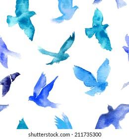 Watercolor birds seamless pattern.