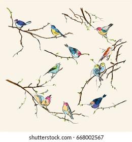 Watercolor birds. vintage seamless texture of little birds