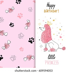 Watercolor birthday greeting card design with princess poodle dog. Vector illustration for kids.