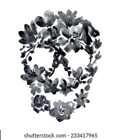 watercolor black skull with flowers. vector illustration