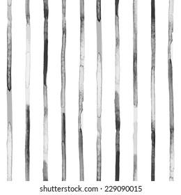 Watercolor black stripes. Seamless pattern. Vector illustartion